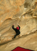 Scott Clarke nails the last hold the scary Nevin Rule, V7, at The Kindergarden
