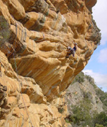 Malcom Matheson does the trad traverse classic of Stone Temptress (22), Centurion Walls.