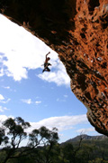 James Pfrunder taking the victory plummet off Chain of Fools (23), The Gallery, Grampians.