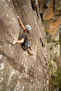 Mark Kendrick on the mega long second pitch of Missing (23), Central Buttress, Mt Stapylton, Grampians