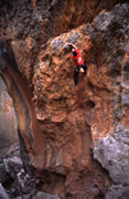 Tim Le onsights the new route Static Ticking Rampage grade 22