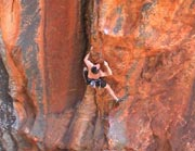 Neil on the FFA of the bouldery Strike the First Blow (25).