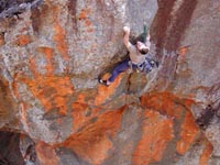 Nick McKinnon repeats the sustained sandstone route, Variance (24), on the backside of Red Rocks