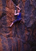 Tim Marsh ticks the first ascent of Wave of Mutliation (24) on the superb rock of the Red Rocks area.