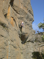 Neil on crux move of the FFA of Tokinese (22).