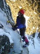 Jono solos a short ice route below The Freak - 2001 season.