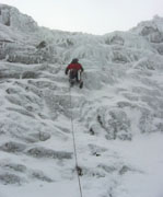 Neil Monteith leads some unprotectable scary thin ice on Mt Buller